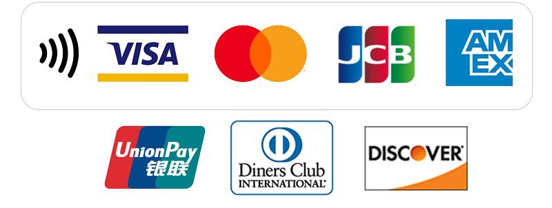 Visa/Mastercard/JCB/American Express/UnionPay(銀聯)/Diners Club/Discover